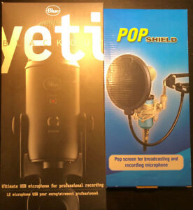 "Blue Yeti Blackout USB Microphone and 6"" Studio Pop filter"