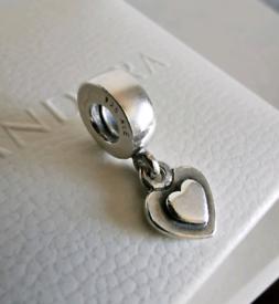 PANDORA Genuine Heart Dangle Charm. Rare! Sterling Silver. Authentic
