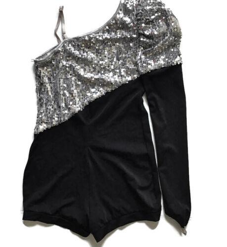 Balera Sequined One Shoulder Dance Ballet Costume Boy Short Black Adult XL