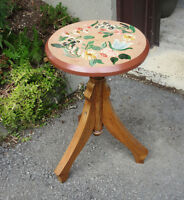 Tole Painted Wood STOOL - Decorative Chair
