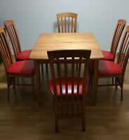 Table with 6 chairs (recently upholstered)