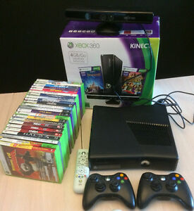 Xbox 360 Game Console, Kinect, 2 x controllers, lots of games