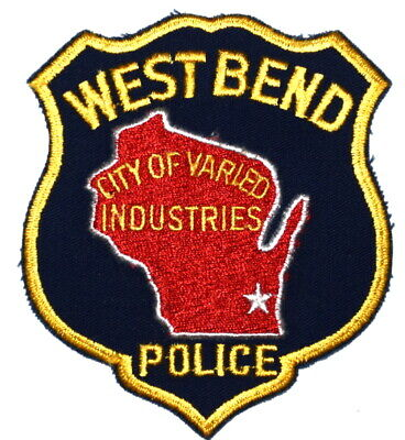 WEST BEND WISCONSIN WI Sheriff Police Patch STATE SHAPE OUTLINE CITY STAR ~
