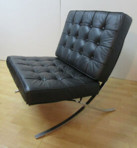 1980's Vintage Black & Chrome Barcelona Lounge Chair