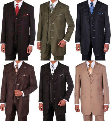 Men's 3 Piece Gangster Pin-Striped Three Button Suit w/ Vest #5903 - Gangster Vest