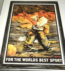 Vintage fishing pictures - 6 different - mounted