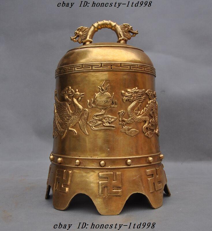 "13""China Buddhism Temple Brass Dragon Phoenix""卍""Swastika Statue Pray Bell Zhong"