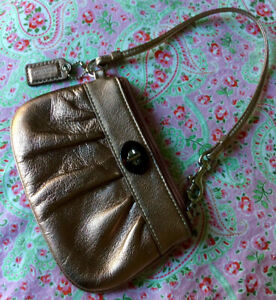 Authentic COACH Small Gold Leather Wristlet