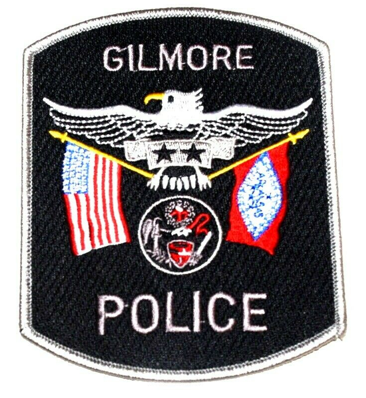 GILMORE ARKANSAS AR  Police Patch STATE SEAL ANGEL STATE FLAG US FLAG ~
