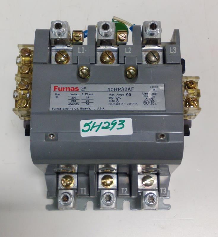 FURNAS 3PH 90A SIZE 3 CONTACTOR 40HP32AF SER A W/ COIL 75D73251F