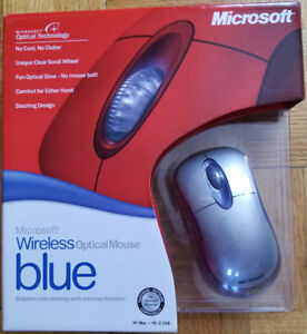 Microsoft Wireless Optical Mouse Blue for PC or MAC