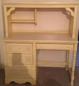 EXCELLENT CONDITIONRetro desk with upper storage cabinet/light