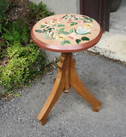 Hand Painted Wood STOOL - Decorative FLOWER Design