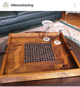 Serving, decorative wooden tray
