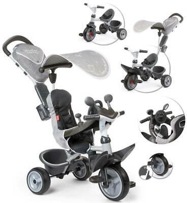 Smoby Dreirad Baby Driver Komfort II mit Lenkstange und Sonnendach (Grau)