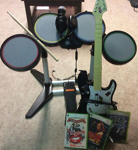 Rockband Bundle! Guitar, Drums, Mic and 3 Games!
