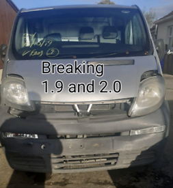 Breaking vaulxhall vivaro Renault traffic 1.9 2.0 parts breaker salvag