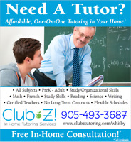 NEED A TUTOR FOR YOUR CHILD? CALL 905-493-3687!