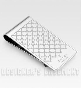 GUCCI shiny polished metal DIAMANTE pattern engraved MONEY CLIP NIB Authentic!