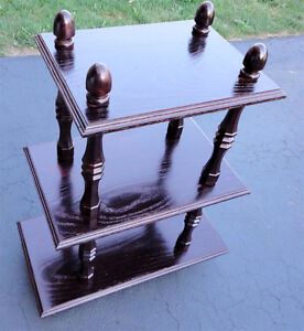 Solid wooden cherry clooured three tier bookcase shelving unit London Ontario image 5