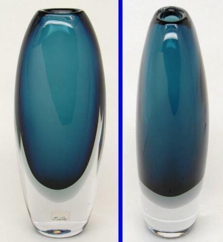 1950s MCM Kosta VICKE LINDSTRAND 9-3/4x4 Sommerso BLUE Glass VASE Signed LH 1828