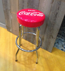 Tall red COKE stool