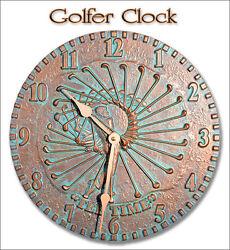 Whitehall GOLFER Clock Indoor-Outdoor Battery Rust-Proof Aluminumin in 2 Colors