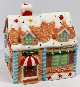 Christmas House Cookie Jar Ceramic 8 IN by 6 IN by 6 IN