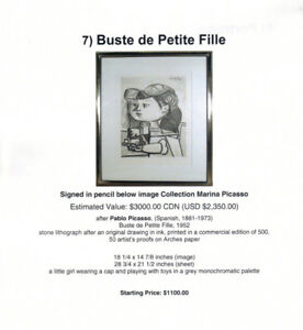 "Unique Art ""Buste de Petite Fille"" after Pablo Picasso"