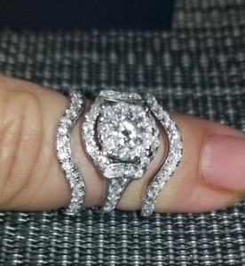 3 Ring White Gold Wedding Set