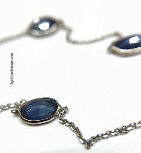 14K WG 6.0CT Blue Sapphire by the Yard Necklace. $6213 Appr'd.