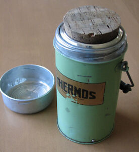 1950s Metal Thermos - Vintage Green Insulated Vacuum Flask Jar
