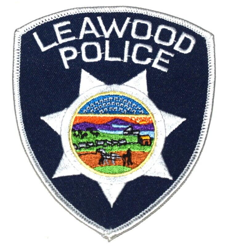 LEAWOOD KANSAS KS Sheriff Police Patch STATE SEAL FARMER HORSE WAGON TRAIN ~