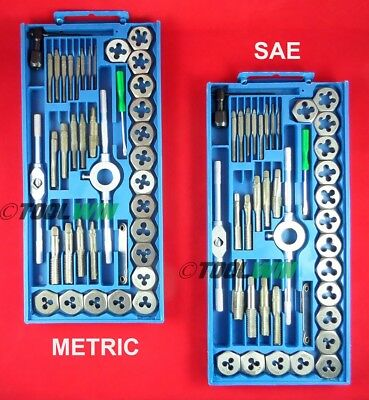 Tap and Die Set 80 piece SAE & METRIC w/ Cases Screw Extractor Remover NEW