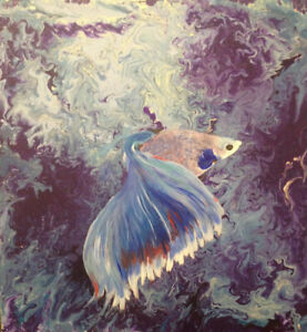 Fish Painting - Fan-tail Guppy