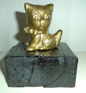 Cat Lovers, Small Brass Cat Standing on a display base- $10