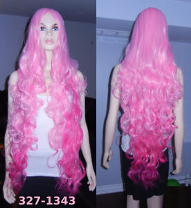 NEW Deluxe 100cm Super-Long Curly Gradient Pink Wig (327-1343)