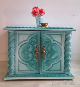 Beautiful teal end table/chest