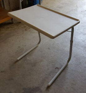 White Adjustable TV Table
