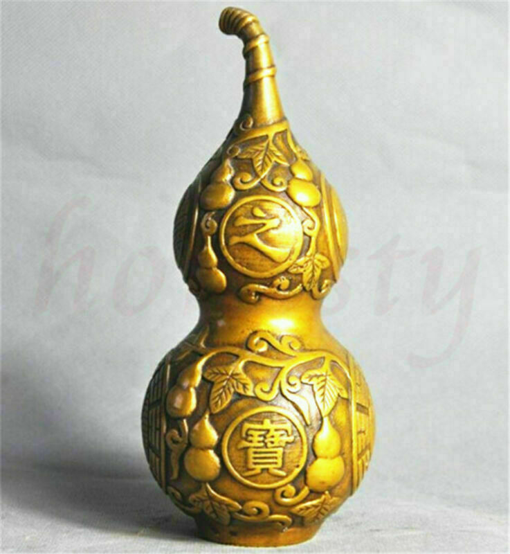 Chinese Brass Feng Shui Treasure Gourd Good Lucky Town House Statue Decor Gift