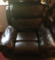 Dark brown single leather couch