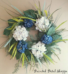 Navy Blue & White Hydrangea Wreath/ Lime Green Wheat Wreath