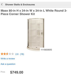 Bathroom Corner Shower Stall c/w Vanity, Med Cabinet, Moen Taps