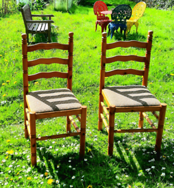 Pine dining chairs.