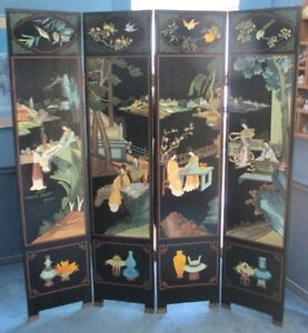 Asian Lacquered Wood Screen