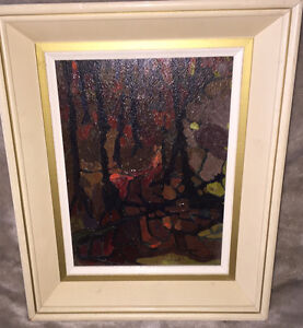 1966 Vancouver Artist Oil Painting STANLEY PARK Signed Abstract