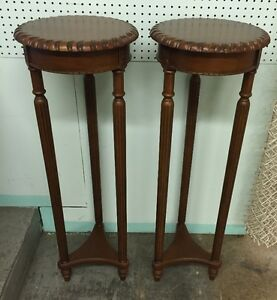 2 Tall Wooden Plant Stands West Island Greater Montréal image 1
