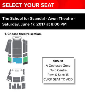 3x Stratford Festival tickets - School for Scandal on June 17