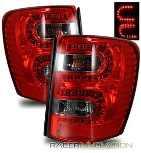 for 99 04 jeep grand cherokee euro red smoked led tail light rear. Black Bedroom Furniture Sets. Home Design Ideas
