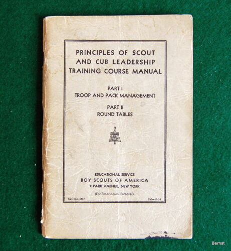 1938 PRINCIPLES OF SCOUT AND CUB LEADERSHIP MANUAL - FOR EXPERIMENTAL PURPOSES